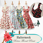 Women's 1950s Vintage Rockabilly Dress Halter Floral Cherry Strawberry