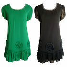 Chiffon Floral Applique Detail Dress In Green, In Black Size 14, 16, 18, 20