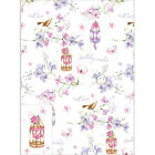 Birdcage Bird Cage Flowers pink lilac Birthday wishes gift wrap 2 sheets & tags