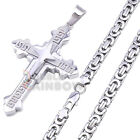 2P39 Mens Stainless Steel Silver Greek Key Cross Pendant Necklace Chain