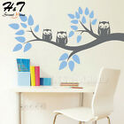 Owl Family Tree Branch Removable Vinyl Wall Decal Sticker Kid Bedroom Home Decor