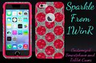 """Glitter Otterbox Commuter 4.7"""" iPhone 6 Case Polka Dots White Gold/Red/Pink"""