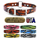 "Hunting Dog Pattern Name Collar 3/4"" Strap Ring in Center & Brass Tag ID Plate"