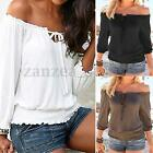 NEW Womens Ladies Gypsy Off Shoulder 3/4 Sleeve Casual Loose Tops Shirt Blouse