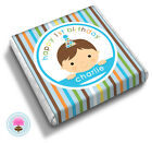 Personalised BLUE STRIPE Baby Boy's 1st Birthday Party Bag Favour Chocolates
