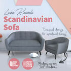 NEW Modern Retro Single 2 Two Seater Linen Fabric Sofa Lounge Couch Suite Grey