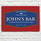 Personalised with any name Welcome Best Bar Red & Blue Beer Label A4 metal sign
