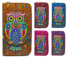 New Ladies Faux Leather Owl Zip Long Coin Purse Womens Wallet Card Holder
