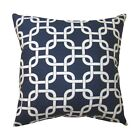 Navy Geometric Pillow, Gotcha Navy and White Outdoor Chain Link Throw Pillow