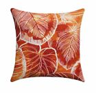Orange Leaf Pillow, Key Cove Cayenne Orange Tropical Leaves Outdoor Pillow