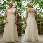 White Ivory Beach Lace Wedding Dresses Sheer Bridal Gowns Custom Plus Size 2-26+