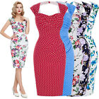 50s 60s Womens Wiggle Pinup Retro Vintage Pencil Dress Casual Housewife Tea Prom