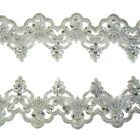Silver Sequin Beaded Alencon Lace Trim #33 Tutu Dance Costume Decoration 1 metre