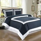 Hotel Navy Blue and White Cotton Duvet Cover Bedding Set by Royal Tradition