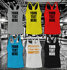 CUSTOM PRINTED PERSONALISED STRINGER VEST - MUSCLE TANK GYM WORKOUT FITNESS TOP