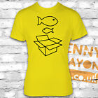 BIG FISH LITTLE FISH CARDBOARD BOX T-SHIRT - 90'S NINETIES RAVE GOING OUT FUNNY