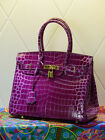 NEW Milan Purple Crocodile Effect Italian Leather Tote Handbag (GHW) 30CM 35CM