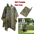 Lightweight Camo Waterproof Hooded Long Raincoat Poncho Hunting Camping Tarp NEW