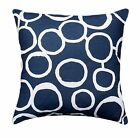 Navy Throw Pillow, Freehand Navy Blue Circle Pillow, Retro Throw Pillow