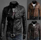 WINTER Mens Slim Pu Leather Motorcycle Jacket Biker Coats Overcoat Stand Collar