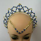 Royal Blue & Gold Beaded Juliet Halo Tiara Handmade Ballet Tutu Dance Eisteddfod