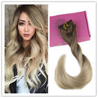 BALAYAGE OMBRE CLIP IN REMY HUMAN HAIR EXTENSIONS BLONDE BROWN FASHION IN 2016