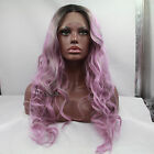 Light Purple Heat Resistant Lace Front Wig Grey Roots Wavy Long Hair Full Wigs