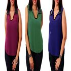 T18 New Womens Fashion Chic Work Office Chiffon Sleeveless Party Tops Blouse