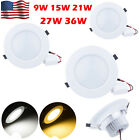 HOT Bright 9W 15W 21W 27W 36W Led Recessed Ceiling Down Light Lamp White Shell