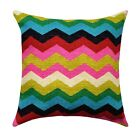 Black Pink Green Gold Red Blue Pillow, Panama Wave Desert Flower Chevron Pillow