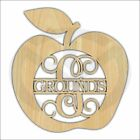 hangers with names - Unfinished Wood Laser Cut Apple with Name & Initial, Door Hanger, Teacher Name
