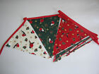 Hand Made 10ft 13 Flag or 6ft 10 Flag Christmas Fabric Bunting Garland (mix rob)