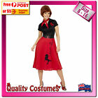 Womens 1950s 50s Grease Red & Black Rock Rockabilly Poodle Fancy Dress Costume