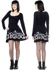Sourpuss Goth Gothic Grave Digger Skater Black Dress Long Sleeved Cute Mini