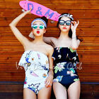 Korean Style Women Cartoon Ruffle Tube Top One Piece Swimsuit Padded Swimwear