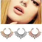 Unisex Fashion 1x Non Piercing Fake Clip On Septum Clicker Hanger Nose Ring Hoop