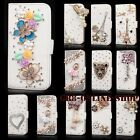 Flip Bling Crystal PU Leather Card Wallet Stand Case Cover For Samsung & iPhones