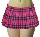 JUNIOR to PLUS SIZE HOT PINK STRETCH LYCRA SCHOOLGIRL PLAID PLEATED MICO MINI