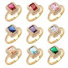 MODOU New Radiant Cut Sapphire Rings 18K Gold Filled Engagement Jewelry Sz O-T