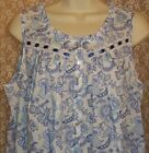 Eileen West Nightgown LONG Cotton Lawn Sleeveless White Blue Purple Paisley S M
