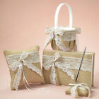 Burlap Lace Bow Flower Girl Basket Ring Pillow Guest Book& Pen Set for Wedding
