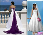 2019 White/Purple Embroidered Satin Bridal Gown Wedding Dresses Ball Gown Custom