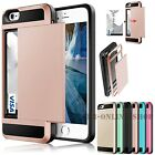 New Heavy Duty Hybrid Slide Card Pocket Armor Case Cover For Samsung & iPhone