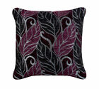 Plum and Black Leaf Cushion 45x45 filled with 275g inner, Same Day Dispatch