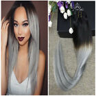 7pcs Clip in Straight Ombre Virgin Human Hair Extensions Natural Black To Grey