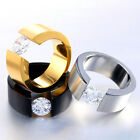 Crystal Zircon Gold Platinum Rhodium Plated Titanium Steel Engagement Ring Lover