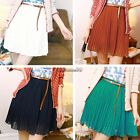 Women Retro Elastic waist pleated double layer chiffon Short Mini Skirt CaF8