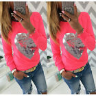 Fashion Womens Ladies Long Sleeve Heart Print Cotton T-Shirt Tops Casual Blouse