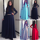 Kaftan Abaya Islamic Muslim Party Evening Women Long Sleeve Vintage Maxi Dress