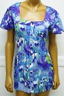 Sere Nade Shirt Blue Stretch Pleated Bodice Watercolor Top Blouse NEW Plus 1X 3X